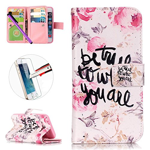 G530 Case, ISADENSER [Card Slot][Kickstand] PU Leather Embossed Flip Wallet Case 9 Cards for Samsung Galaxy Grand Prime G530 + 1pcs Tempered Glass Screen + 1pcs Stylus Pen (Nine Cards Who)