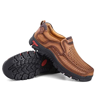 COSIDRAM Summer Men Breathable Casual Shoes Slip on Walking Driving Shoes Luxury Genuine Leather Brown Khaki Leisure Sneakers Comfort Shoes Business Work Office Dress Outdoor | Loafers & Slip-Ons