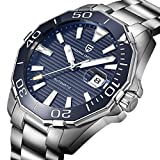PAGANI DESIGN Mens Automatic Self-Wind Watch with Luminous Function Date Display Blue Face Wristwatch