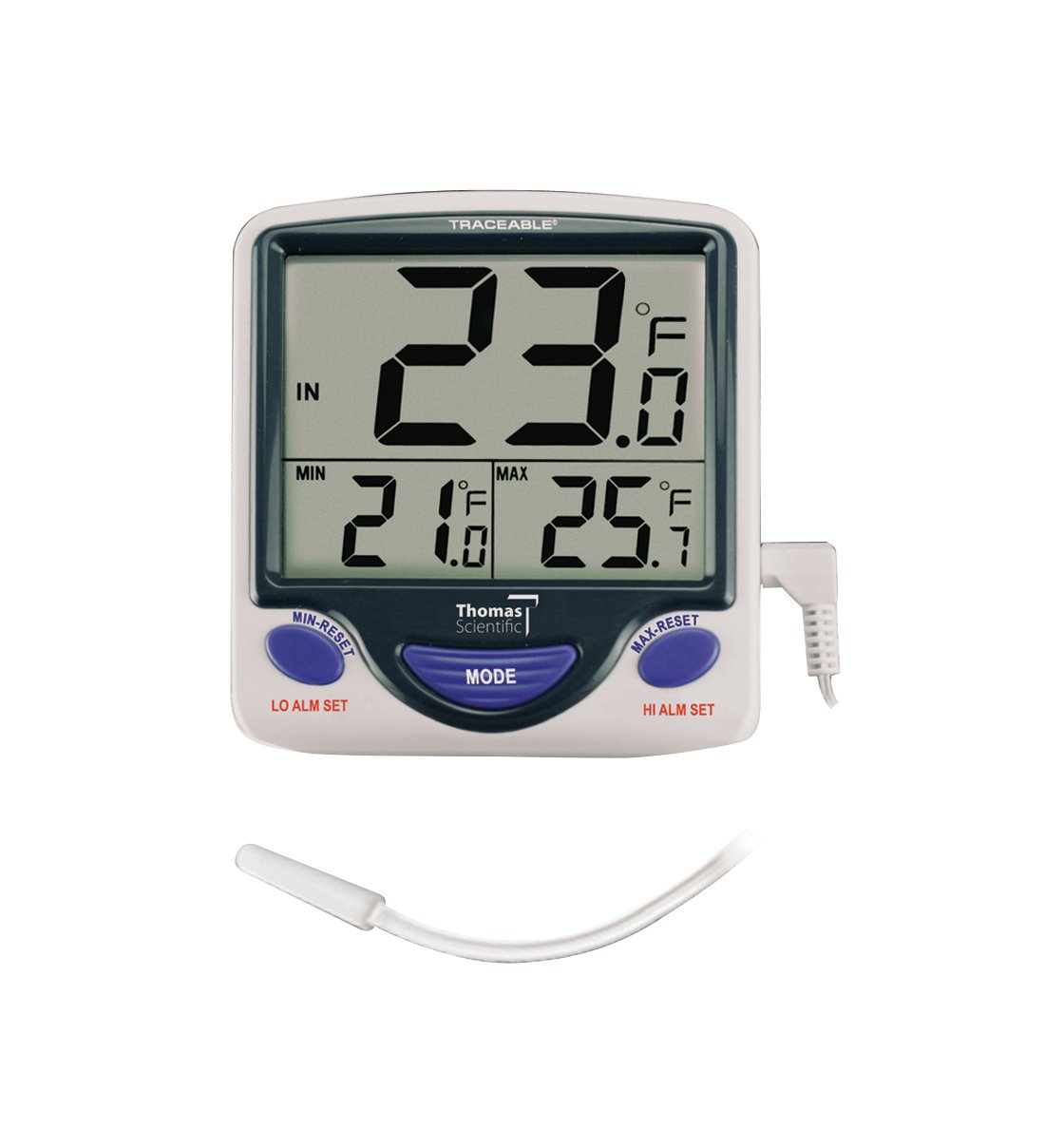 Control Traceable 4148 Jumbo Display Memory Monitoring Thermometer, -50°C to 70°C (-58°F to 158°F) Range, 0.1° Resolution