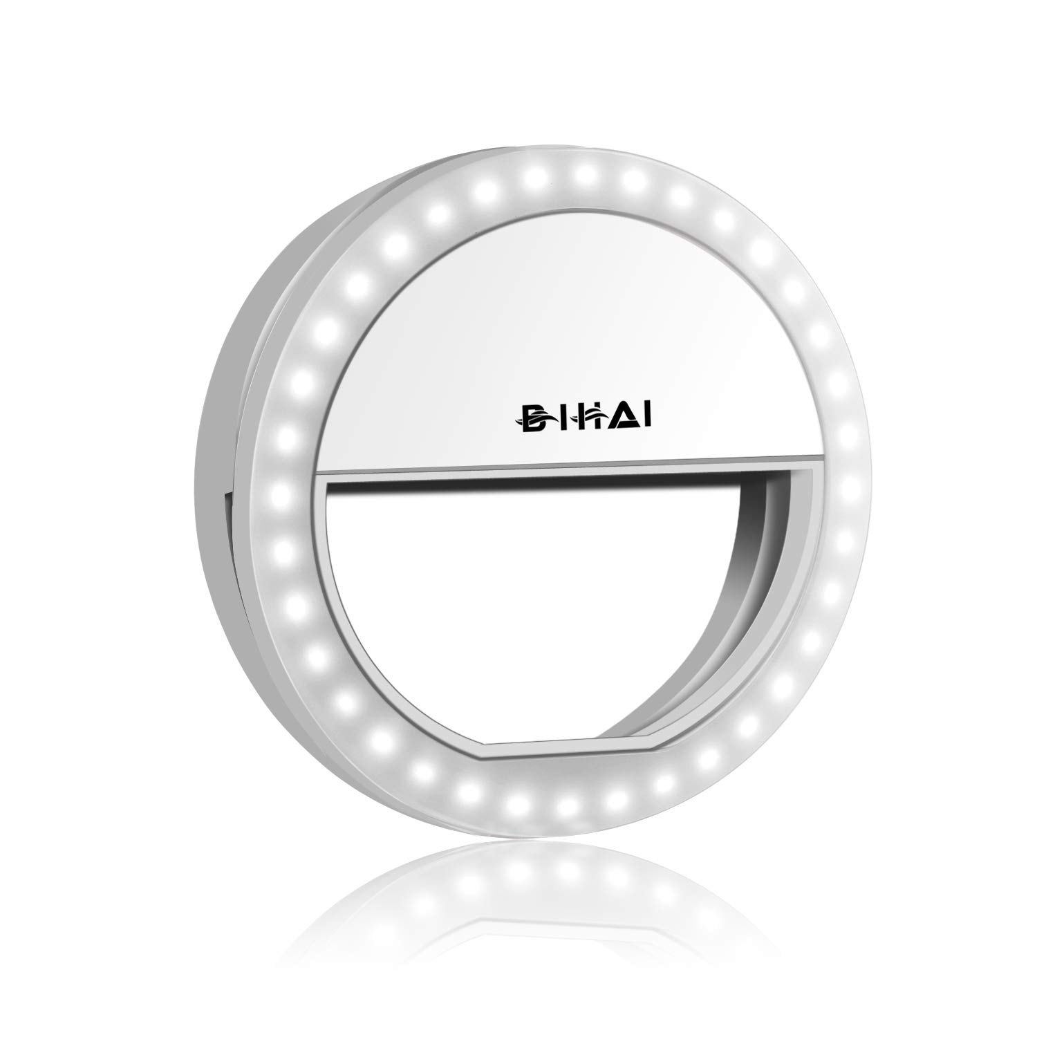 Clip on Selfie Ring Light with 36 LED Bulbs, 4-Level Adjustable Brightness Circle Lights USB Rechargeable for Cell Phone, Laptop Camera, Photography, Makeup BIHAI DCB3A