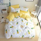 ORoa Fruit Pie Yellow Pineapple Print 3 Pieces Kids Girls Bedding Sets Twin 100 Cotton Luxury Soft Duvet Cover Twin with Pillowcases Best Bedding Christmas Gifts for Children Teen Twin Size,Pineapple