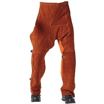 Soldadura Chaps Pantalones de piel de vaca resistentes a la abrasión y al fuego: Amazon.es: Bricolaje y herramientas