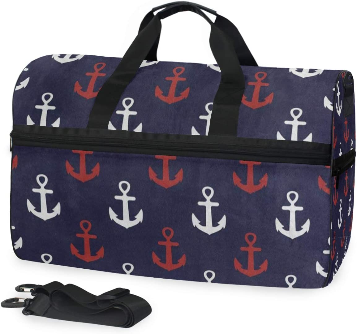 Duffle Bag Blue White Red Anchor Gym Bag with Shoe Compartment Sport Bag for Men Women