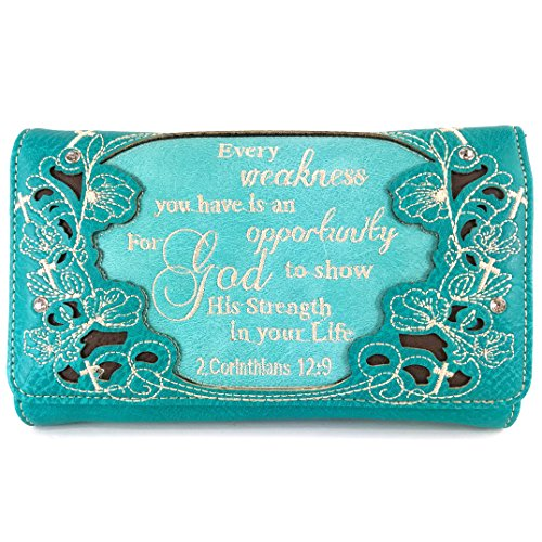 Justin West Embroidery Floral 2 Corinthians 12:9 Bible Verse Rhinestone Tote Shoulder Concealed Carry Handbag Messenger Purse (Turquoise wallet)
