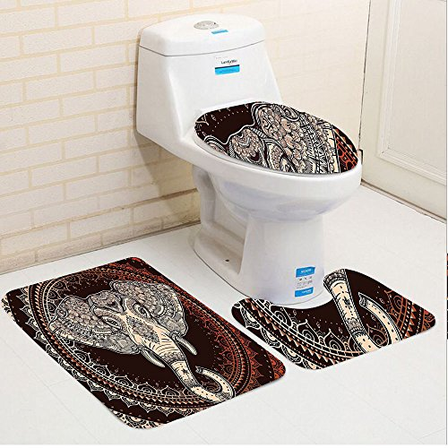 Keshia Dwete three-piece toilet seat pad customIndian Oriental Elephant Head in Mandala Circle with Embellished Lines Folk Totem Design Maroon Beige