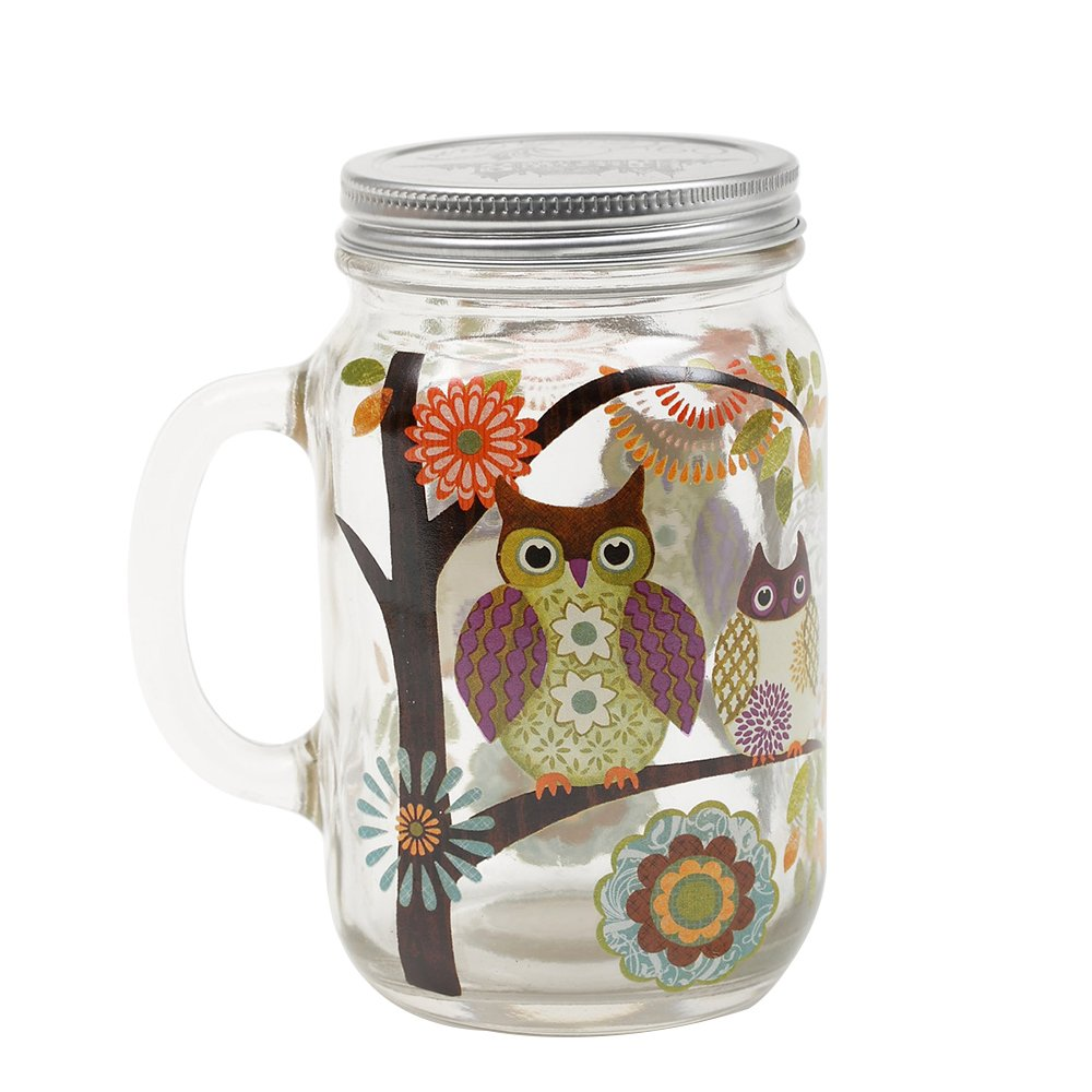 27oz Glass Mason Jar with Handle and Lid,Bird and Butterfly NINGBO CHANG QING HOME DECOR CO LTD