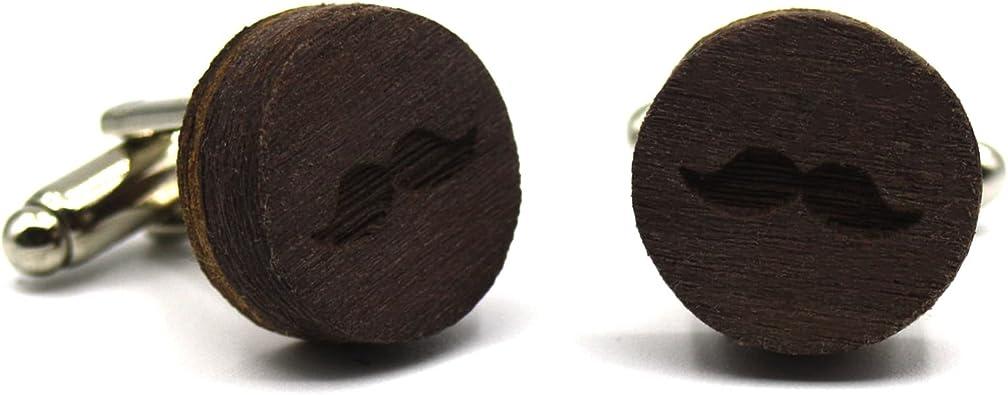 Gemelos de madera Moustache. Colección de moda hombre: Gemelos de madera de nogal natural para camisa, hechos a mano en España. Línea boda y eventos. Grabado de bigotes. Regalo elegante y original: