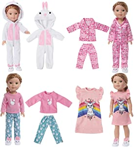 6 Pcs Girl Doll Clothes Pajamas for American 14 Inch Wellie Wishers Doll - 4 Complete Bunny Series Pajama Sets, Includes Bunny Onesie, Silky Pajama, Nightgown, Pink&Blue PJs
