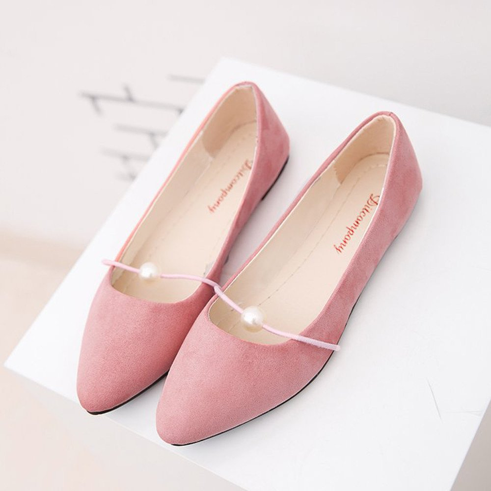 Creazrise Women's Solid Color Suede Flat Heel Pearl Flat Heel Pointed Casual Shoes Classic Pointy Toe Ballet Slip On Flats Shoes Pink by Creazrise Womens Shoes (Image #2)