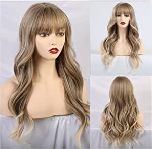 """Huasea 24""""Long Blonde Wig with Bangs Natural Synthetic Hair Wave Wig Daily Cosplay Wigs for Women"""