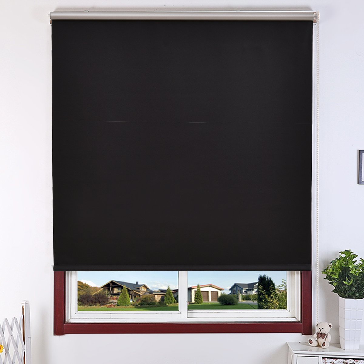 CASART Full Shut Polyester Roller Blind Aluminium Pipe Easy Fit Different Colors/Sizes (55cm, Brown)