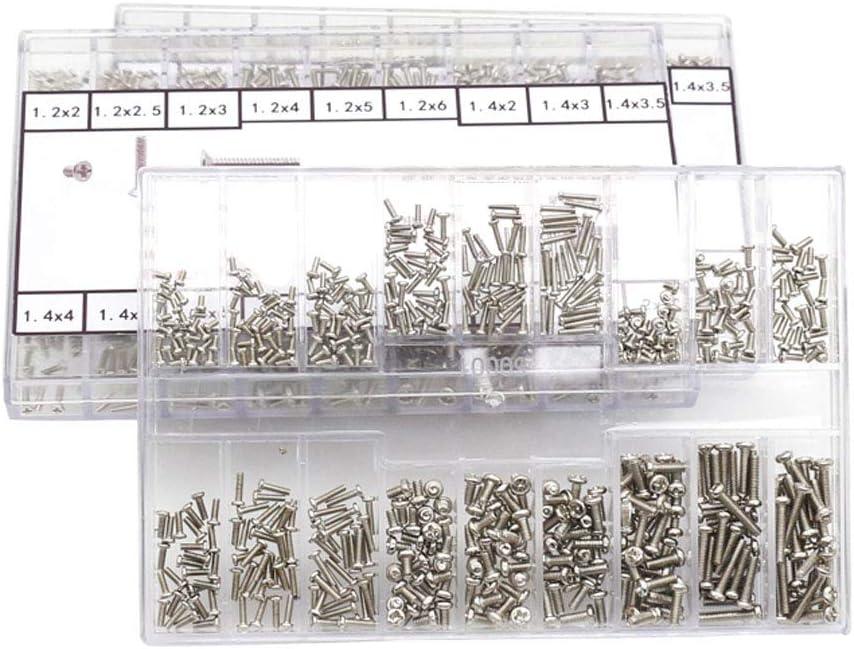 Nsiwem Vis pour Lunettes 2 Boites Kit de R/éparation de Lunettes /à Vis Micro Mini Vis Kit 18 Sortes de Petites Vis Noir et Argent avec Tournevis pour Lunettes Montre Bijoux R/éparation