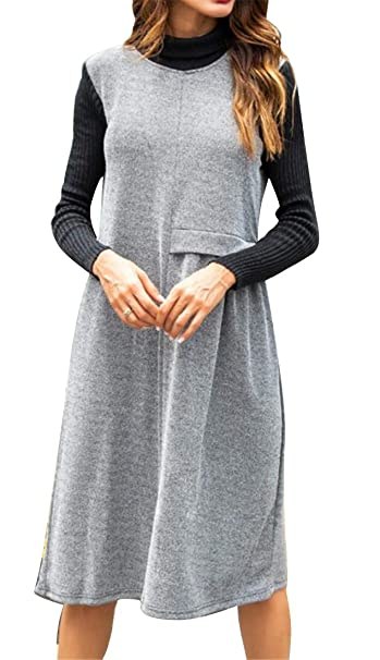 691784036df35 Heless Women s Knitted Stitching Loose Fit Casual Long Sleeve Turtleneck  Midi Dress at Amazon Women s Clothing store