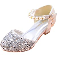 YIBLBOX Little Girl's Sparkle Mary Janes Princess Party Dress Shoes Low Heel Sandals