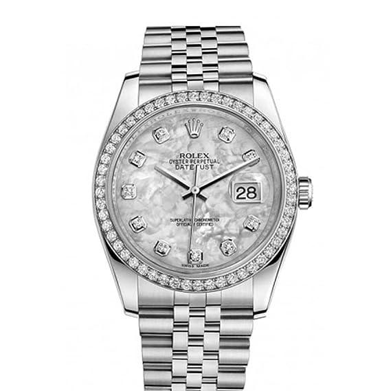 Rolex Datejust 116244 - Reloj de mujer con bisel de acero con strass y esfera nacarada