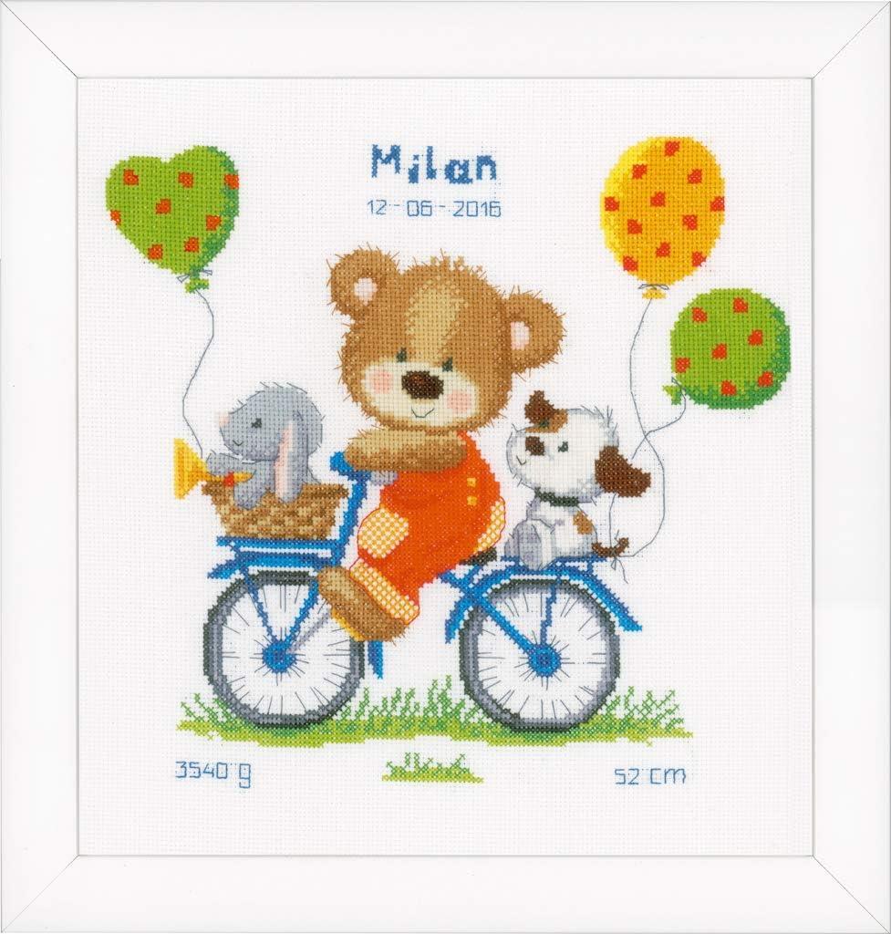 27 x 29cm Cycling Bear Vervaco Counted Cross Stitch Kit N Birth Record