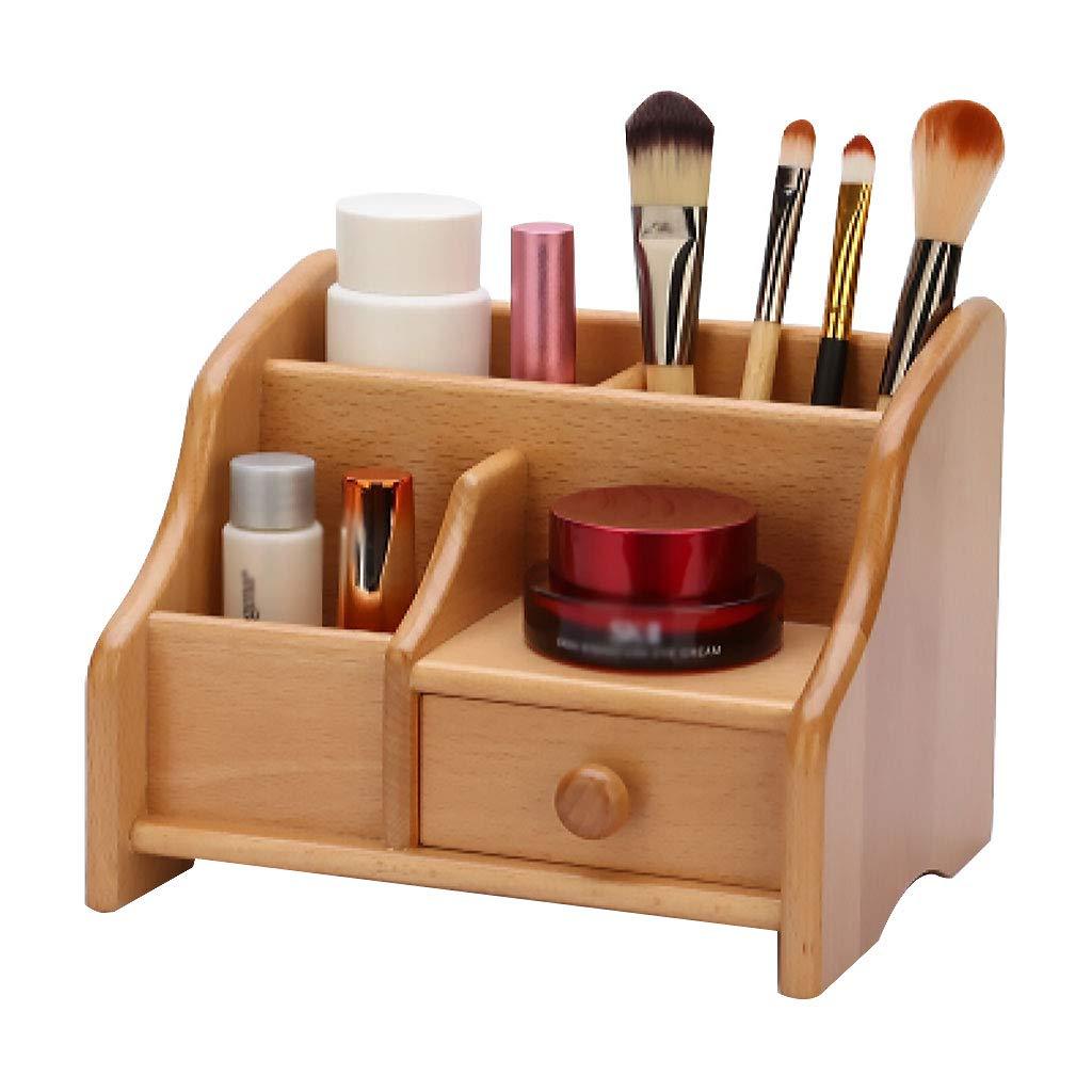 木製デスクトップオーガナイザー棚、2段純木収納引き出し付き文房具用、家庭用バスルーム B07NVVPG61