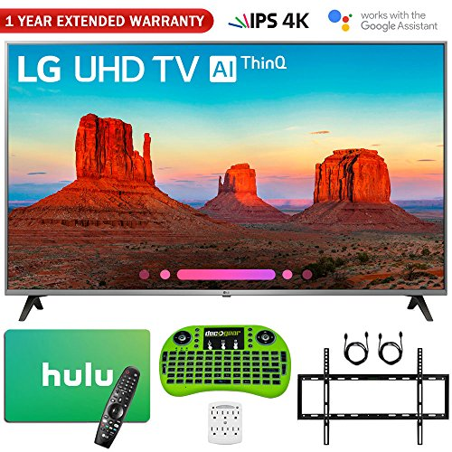 LG 55UK7700PUD 55″ Class 4K HDR Smart LED AI UHD TV w/ThinQ (2018 Model) + Free $25 Hulu Gift Card + 1 Year Extended Warranty + Flat Wall Mount Kit Ultimate Bundle + More