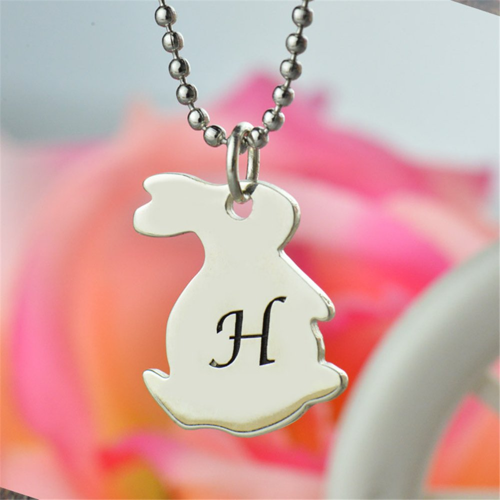 Custom Made Gift Tiny Rabbit Necklace with Initial Personalized Monogram Rabbit Necklace Cute Bunny Initial Pendant