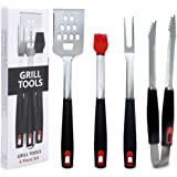 Cookey BBQ Grill Tools Set - 4-Piece Sturdy Food Grade Stainless Steel Barbecue Grilling Utensils - Premium Grill Accessories for Barbecue - Spatula, Tongs, Fork, and Basting Brush