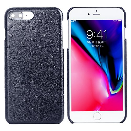iPhone 8 plus Case, Cresee Genuine Leather Ostrich Pattern Snap-on Case Luxury Slim Fit Protective Cover Premium Microfiber Lining Hard Back Cover Case for iPhone 8 plus(Blue) ()