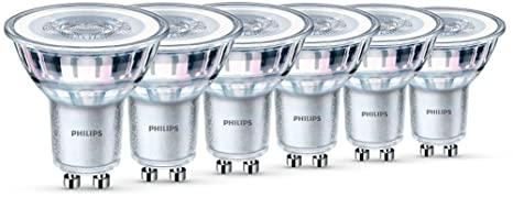 Philips Lot de 6 Ampoules LED Spot Culot GU10, 4,6W équivalent 50W, Blanc Chaud 2700K, Finition Verre
