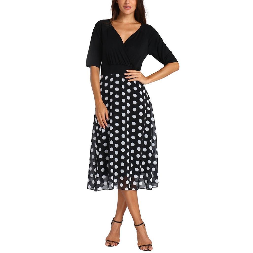 Pervobs Dress Hot Sale! Women Plus Size Sexy V-Neck Half Sleeve Dot Casual Maxi Evening Party Boho Beach Mini Dress (XXXL, Black)