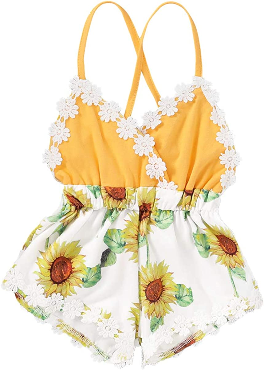Summer Toddler Baby Girl Clothes Cute Fruit Flower Print Lace Trim Backless Romper Shorts Jumpsuit