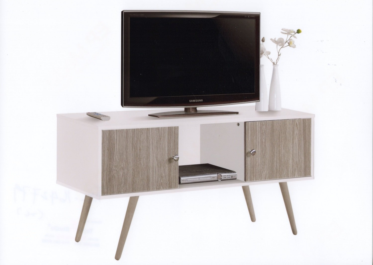 Hodedah Retro Style TV Stand with Two Storage Doors, and Solid Wood Legs, White by HODEDAH IMPORT