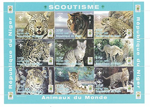 (Stamps for Collectors - perforfated Stamp Sheet Featuring Animals of The World / Big Cats / Tiger / Cheetah / Republic of Niger)