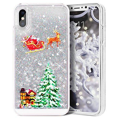 iPhone X Case, iPhone Xs Case, CinoCase 3D Creative Liquid Case [Christmas Collection] Quicksand Moving Stars Bling Glitter Snowflake Christmas Tree Santa Claus Hard Case iPhone X/XS (Silver)