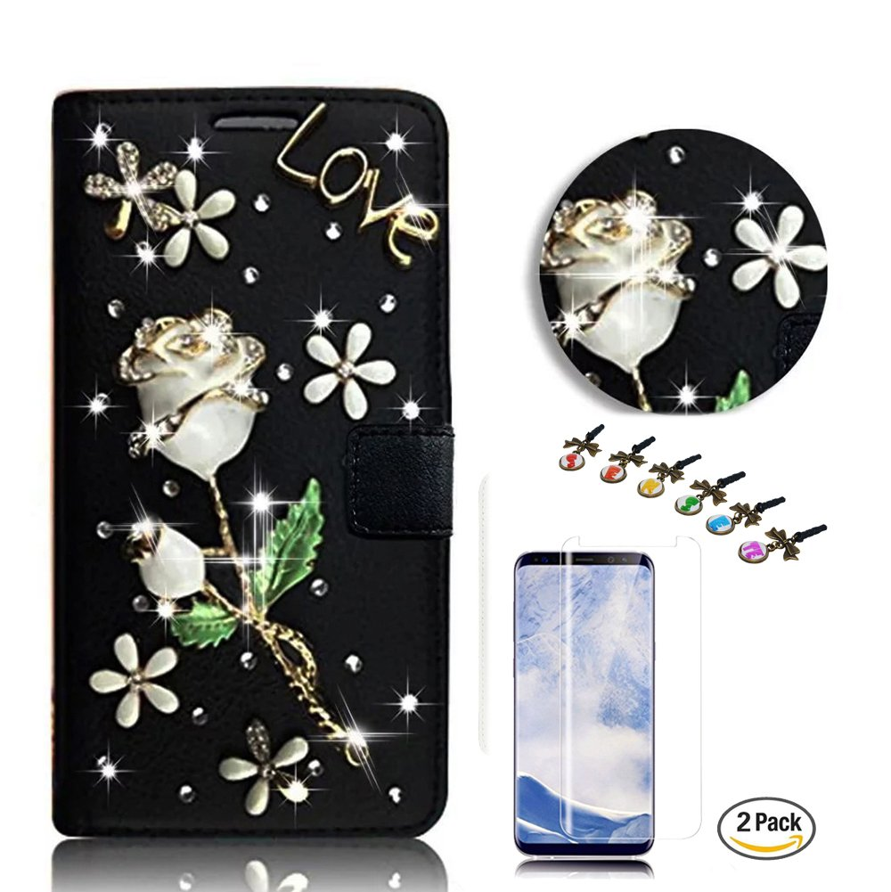 STENES Galaxy S8 Active Case - STYLISH - 3D Handmade Crystal Pretty Flowers Floral Wallet Credit Card Slots Fold Media Stand Leather Cover for Samsung Galaxy S8 Active with Screen Protector - Black