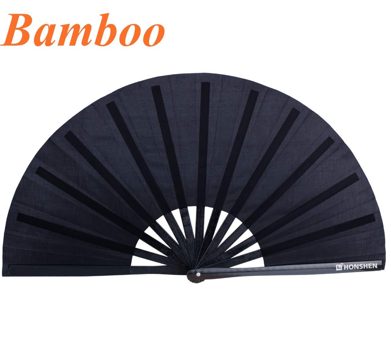 HONSHEN Folding Fan Performance Fan Bamboo-Cloth Fan 13 inch (Black Bamboo)