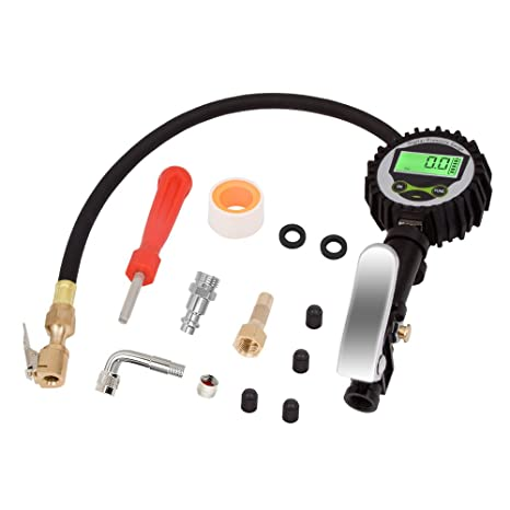 Mookis Digital Tire Inflator with Pressure Gauge 250PSI Accurate Tire Gauge with Rubber Air Chuck Hose