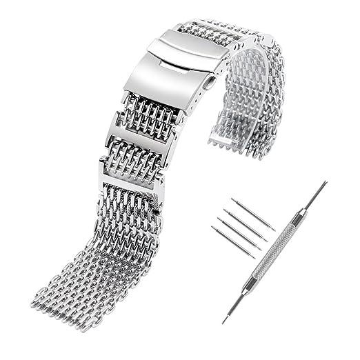 YISUYA SHARK MESH - Correa para reloj de buceo de acero inoxidable de 22 mm: Amazon.es: Relojes