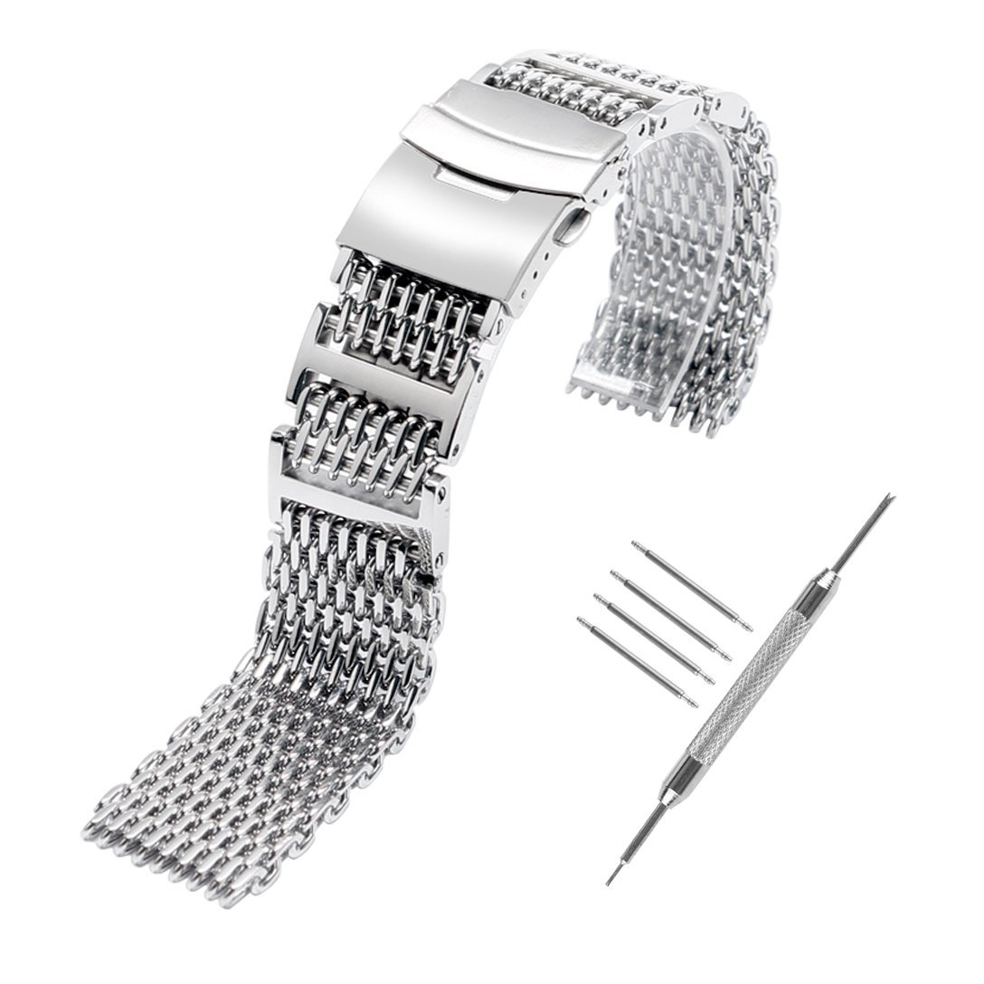 YISUYA SHARK MESH 22MM Full Stainless Steel Watch Band Heavy Duty Diving Dive Watch Strap (22MM)