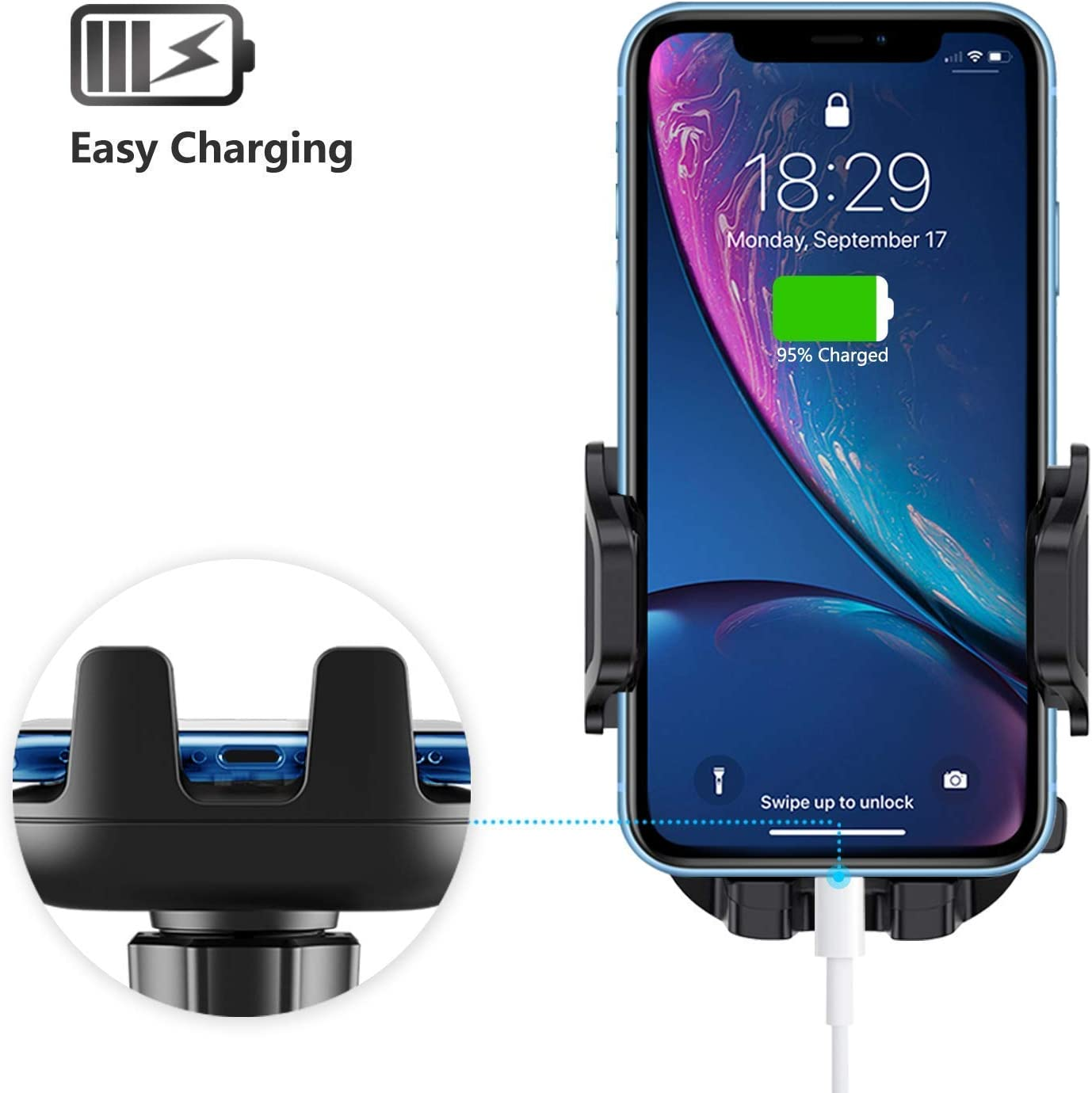One Button Release Car Cradle Dashboard /& Windshield Car Air Vent Cell Phone Holder Stand with Telescopic Arm /& Dashboard Pad Strong Sticky Suction Compatible iPhone Samsung etc Car Phone Mount