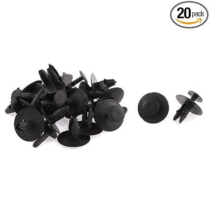 uxcell 20 Pcs Black Plastic Push Fastener Rivets Clips