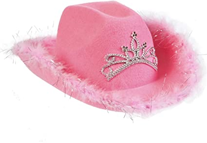 27c76a1516c Image Unavailable. Image not available for. Color  Rhode Island Novelty  Felt Pink Feather Blinking Rhinestone Cowboy Hat