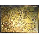 """The Lord Of The Rings / The Hobbit - Map Of Middle Earth - Limited Edition Metallic Dufex Movie Poster / Art Print (Size: 27"""" x 19.5"""")"""