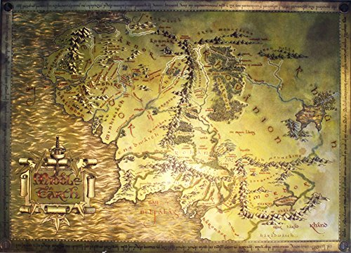 amazoncom the lord of the rings the hobbit map of middle earth limited edition metallic foil dufex movie poster art print size 27 x 195