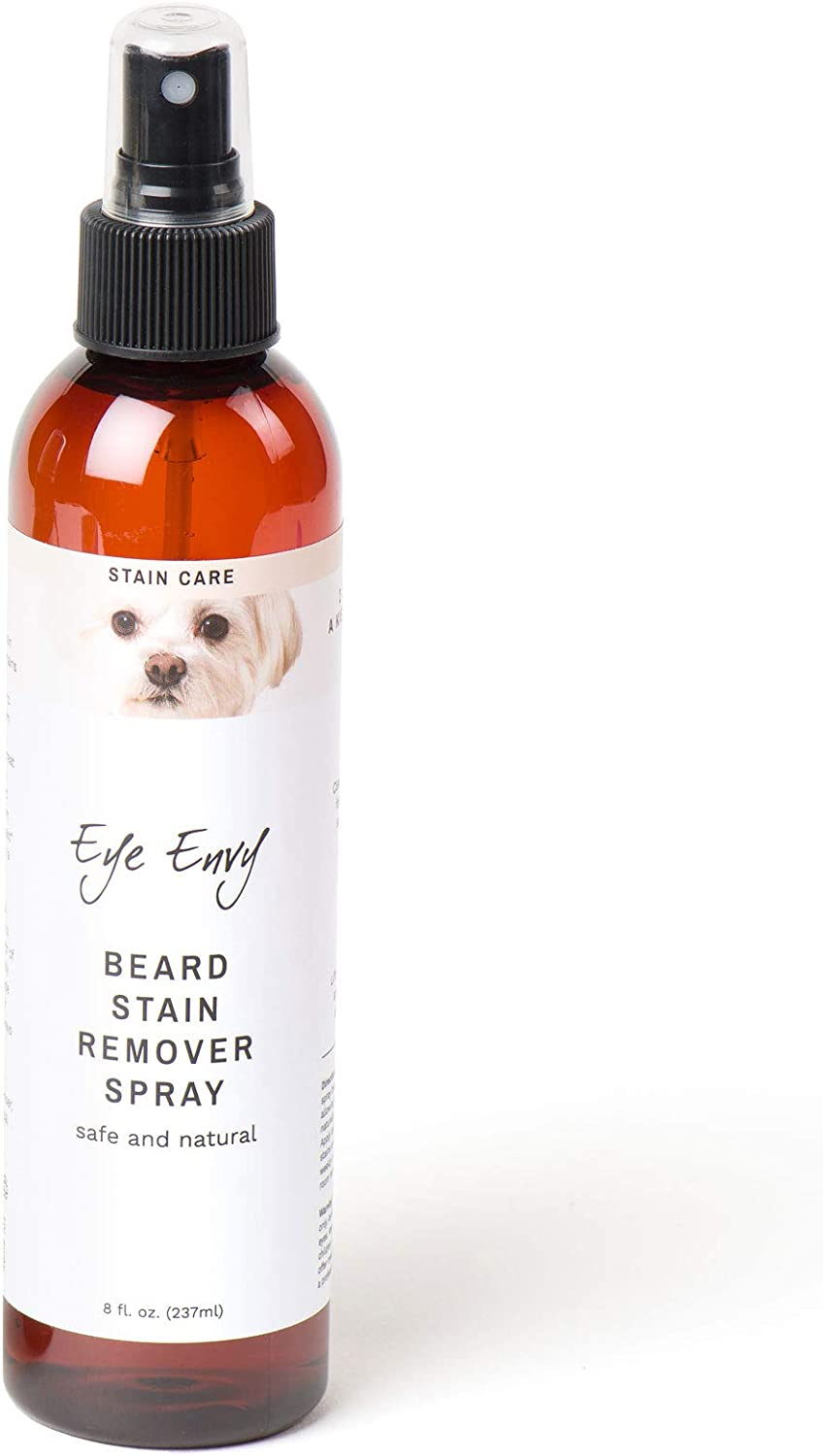 Eye Envy Beard Stain Remover Spray for Dogs/Cats|100% Natural and Safe|Lift Stains from Drooling, Saliva, Food, Runoff from Tearing|Treats The Cause of staining|Removes Odors|Keeps Beard Clean, 8oz
