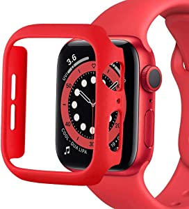 SUNDO for Apple Watch Case Series 6/5/4/SE 40mm 44mm,Series 3/2/1 38mm 42mm Matte PC Hard Cover Ultra-Thin Bumper Lightweight Protective Slim Guard Accessories for iWatch(Red,44mm)