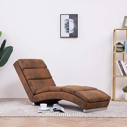 Wohnzimmer Liegesessel Polsterliege mit 5 Massagemodi und Heizfunktion Modern Relaxsessel Sofaliege Liegestuhl Grau Wildleder-Optik 155 x 51 x 71 cm Festnight Massage Relaxliege