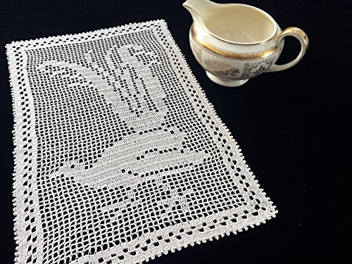Crochet Doily. Australian Mary Card Crochet Lyrebird Design Filet Lace Tray Cloth or Placemat in Ecru/Beige. Brand New Vintage Style Doily with Free Shipping RBT2619 - Ecru Place Card