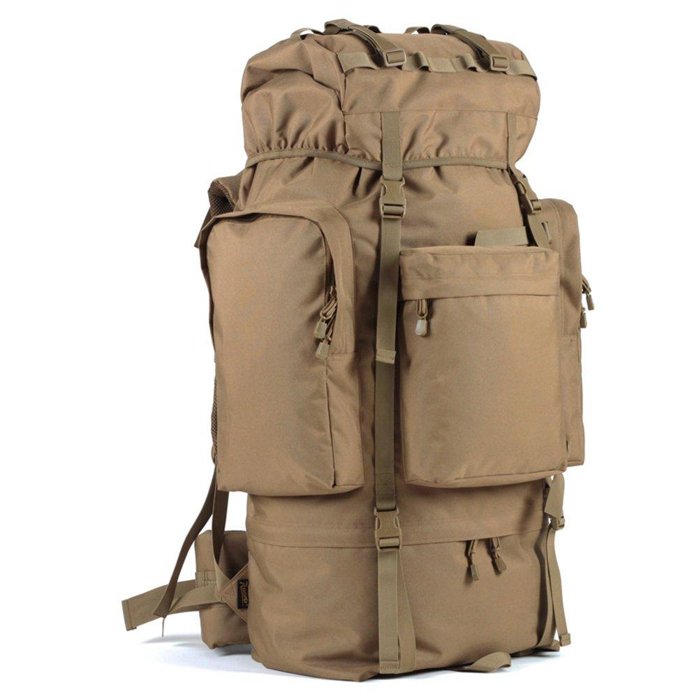 屋外防水登山バッグ100L大容量ハイキングバックパック、戦術的なバックパックスポーツ旅行ハイキング男性 (色 : キャメル)   B07QB7F67B