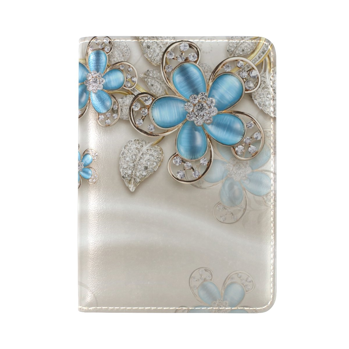 PU Leather Passport Holder Cover Case with Blue Jewelry Flowers Travel One Pocket