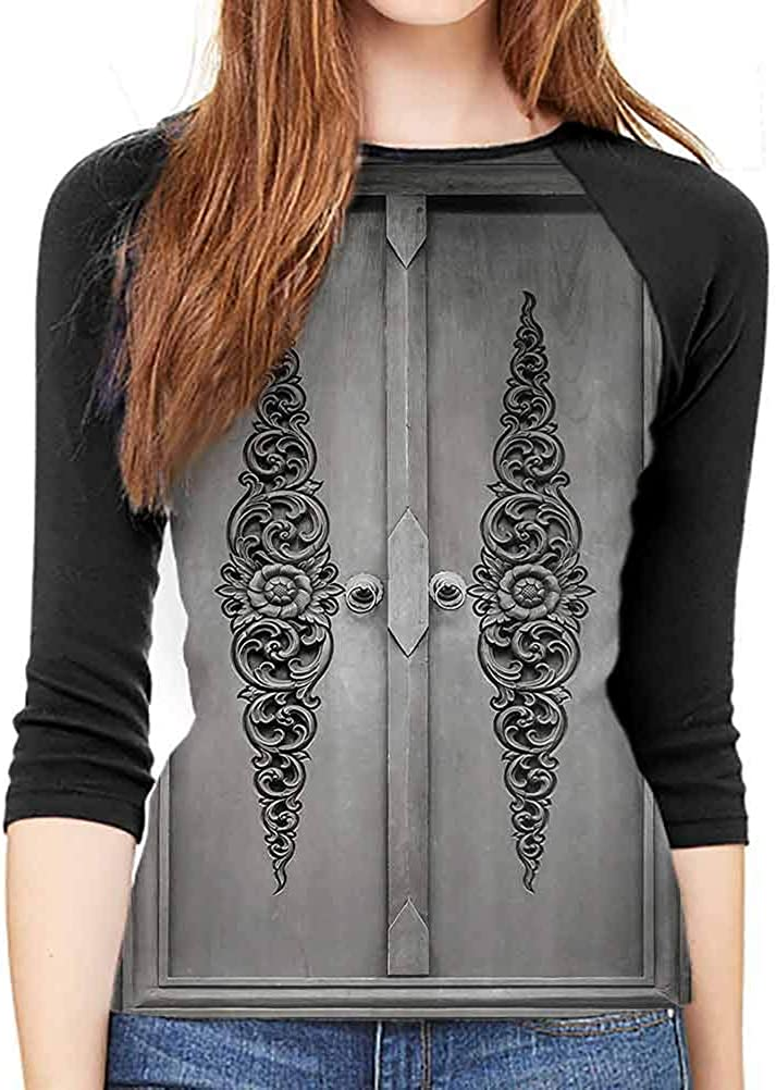 Amazon Com Adult Long Sleeve T Shirt Antique Decor Antique Door With Vertical Ornamental Floral Pattern Travel Treasure Monochromic Casual Pullover Tunic Tops Large Clothing