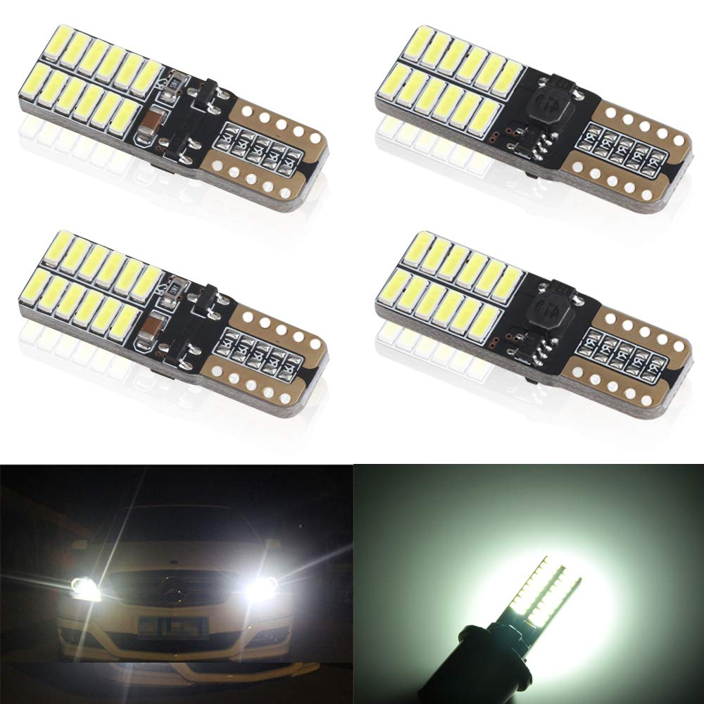 4pcs T10 W5W 168 194 501 Wedge LED Bulbs Super Bright Red CanBus 5W For Car Interior Exterior Light License Plate Dome Map Door Courtesy Side Light Bulb